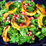 Best Kale Chopped Salad with Pomegranates and Roasted Delicata Squash Recipe from The Hungry Goddess