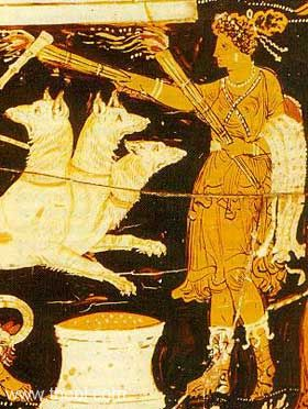 Hekate with Torches - Ancient Greek Urn