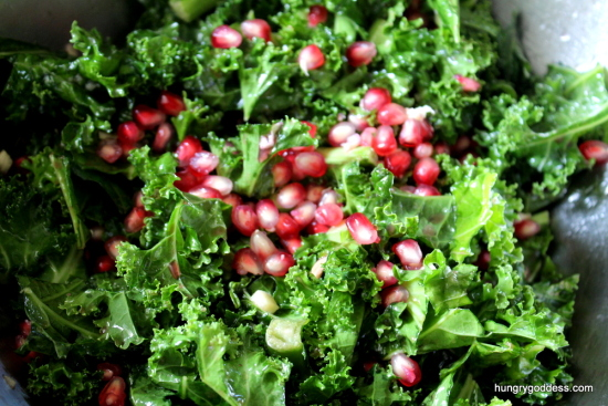 Pomegranate Nibs and Kale Salad Hungry Goddess