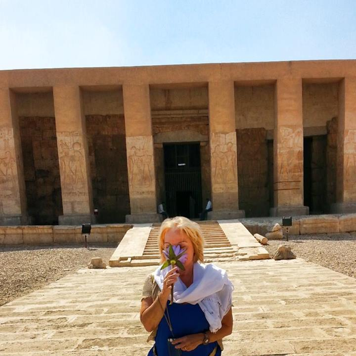 Mary-Lomando-at-Abydos-Temple-in-Egypt-with-Blue-Star-Lotus