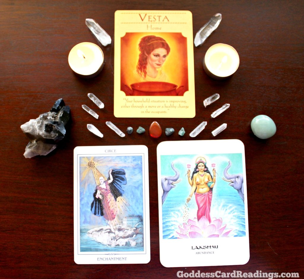 Goddess Card Reading Grid for Vesta Circe Lakshmi May 25 for MotherHouse of the Goddess