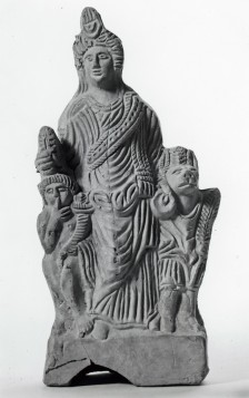 An Italian terracotta showing Isis with Harpocrates and Anubis. Her London devotees may have owned similar votive images.