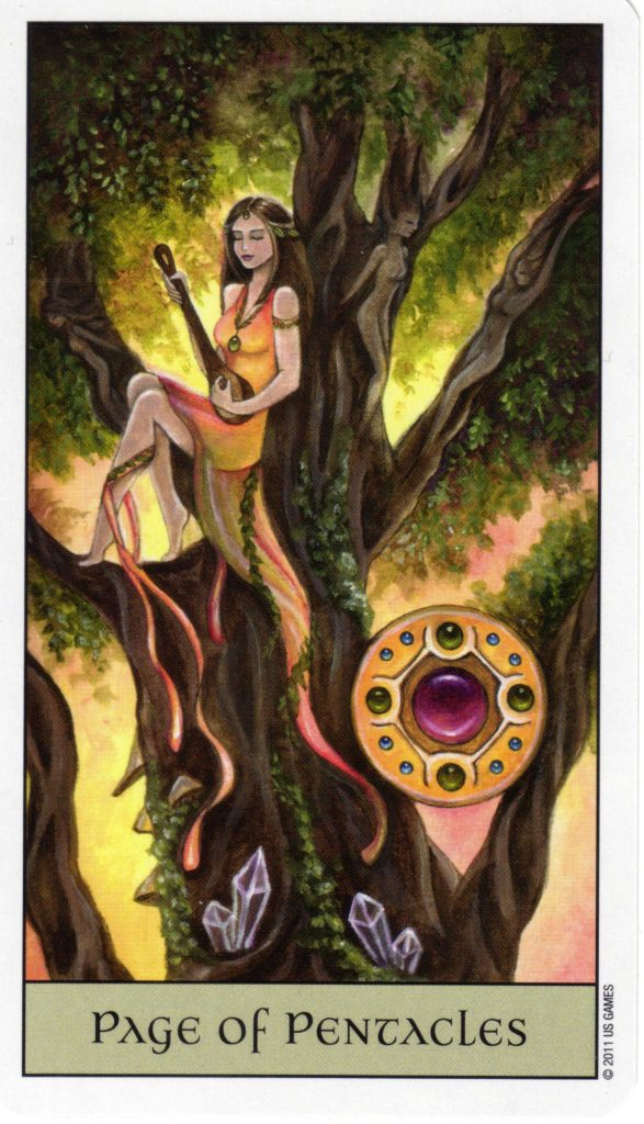 Page of Pentacles from The Crystal Visions Tarot by Jennifer Galasso