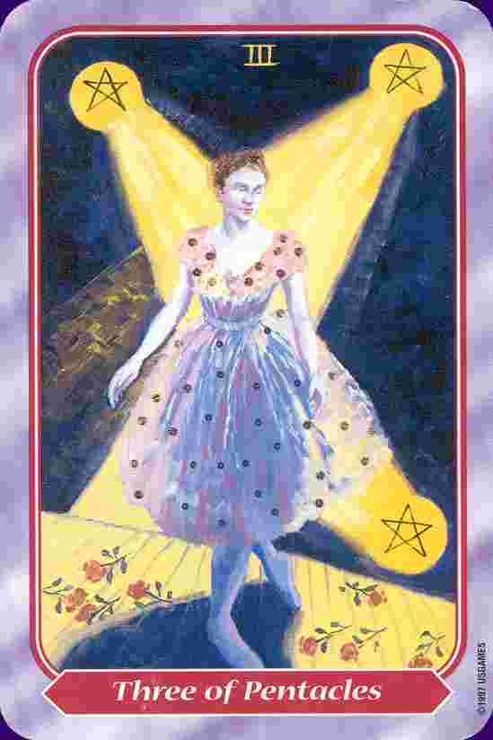 Three of Pentacles from the Spiral Tarot
