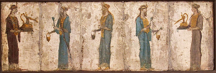 Roman priestesses and priests of Isis; urnulas are carried by the priestesses on the right and left, situlae are carried by the priests