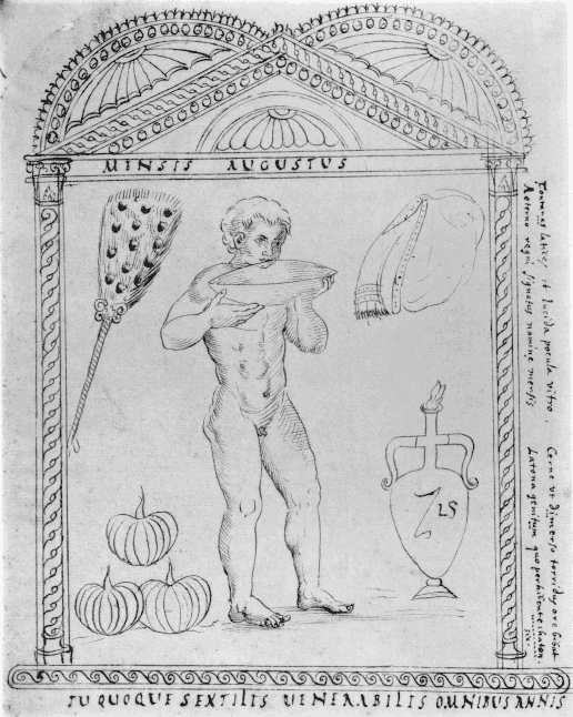 The illustration for the month of August from the Calendar of Philocalus