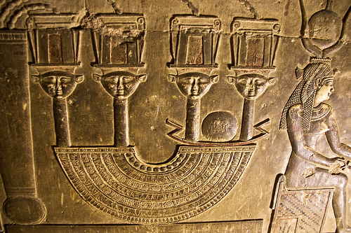 Isis and Hathor carving at Dendera Temple