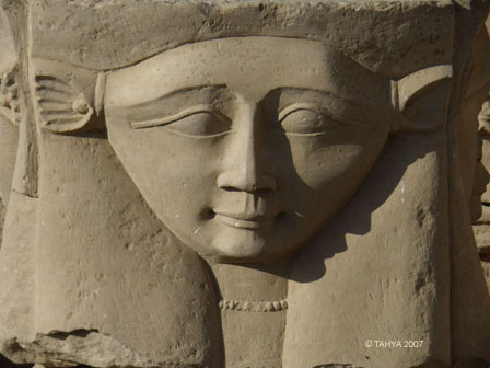 Hathor is one of the few Egyptian deities shown full face. Image from Tahya Ceremonial Systrums