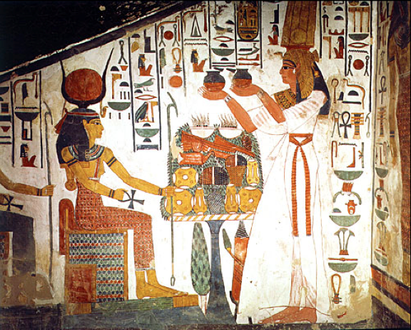 Queen Nefertari making an offering to Isis