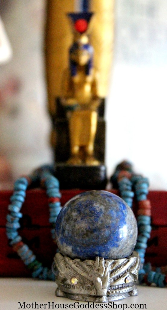 Lapis Lazuli Sphere on ISIS Altar MotherHouse Goddess Shop