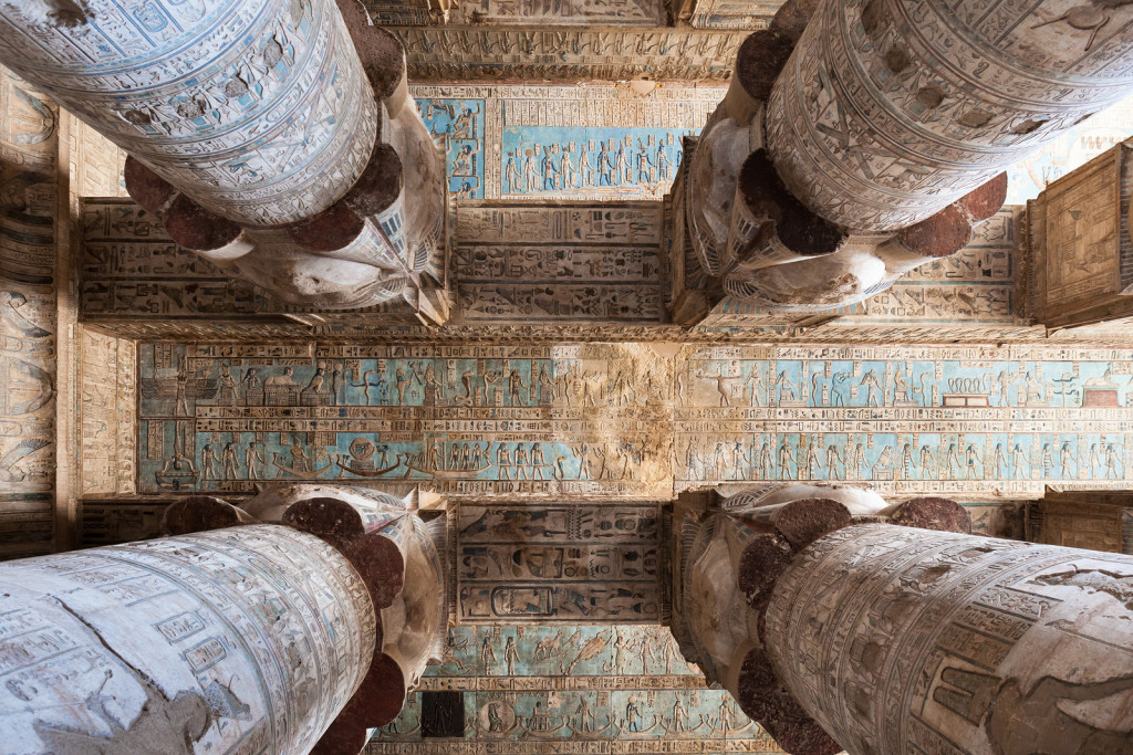 Hieroglyphs And Carved Paintings On The Ceiling Of The Dendera Temple