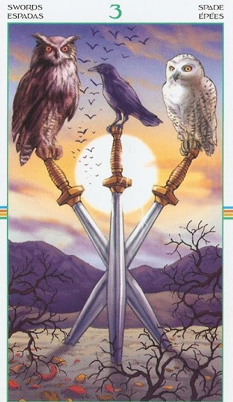 Tarot Card Message - Three of Swords by Kathryn Ravenwood on MotherHouse of the Goddess
