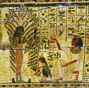 The deceased makes offering while his ba receives water from the Acacia Goddess in the Otherworld