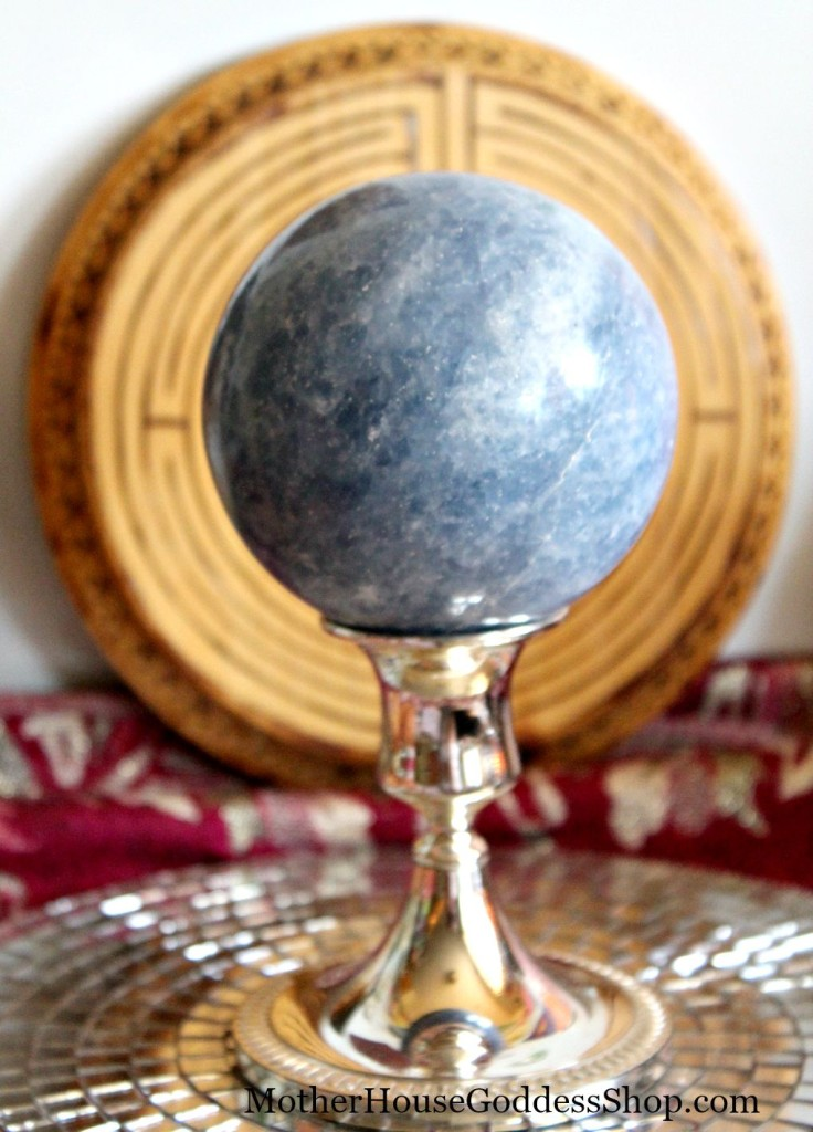 Blue Calcite Sphere on Stand MotherHouse Goddess Shop
