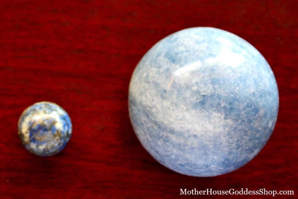 Blue Calcite and Lapis Lazuli Comparison from MotherHouse Goddess Shop