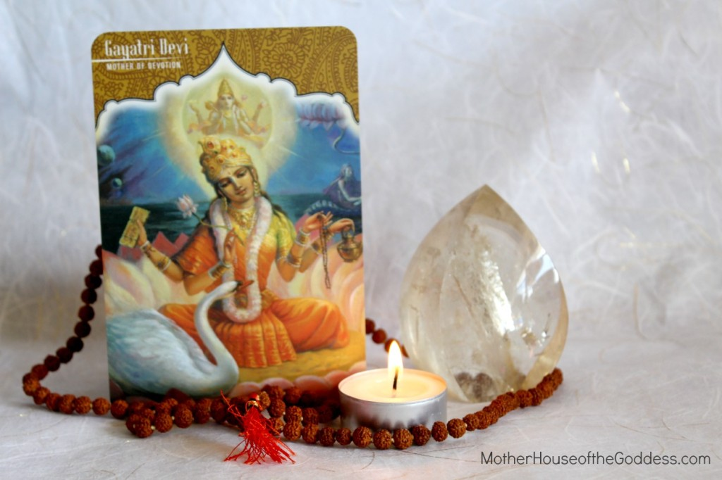Gayatri Devi Goddess Card with Mala and Citrine MotherHouse of the Goddess