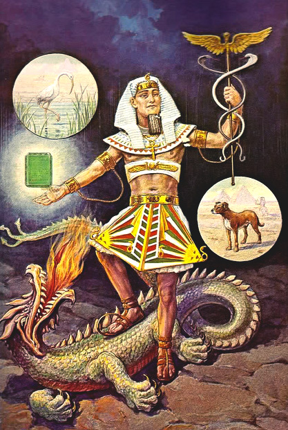 Hermes Trismegistos as a rather pale pharaoh as pictured in Manly P. Hall's Secret Teachings of All Ages