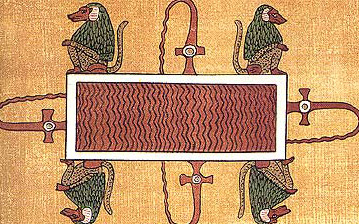 A lake of fire in the Egyptian underworld guarded by the baboons of Thoth