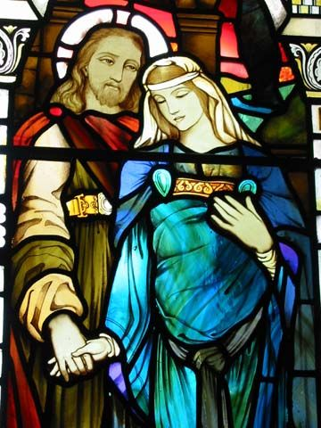 Mary Magdalene and Jesus stained glass