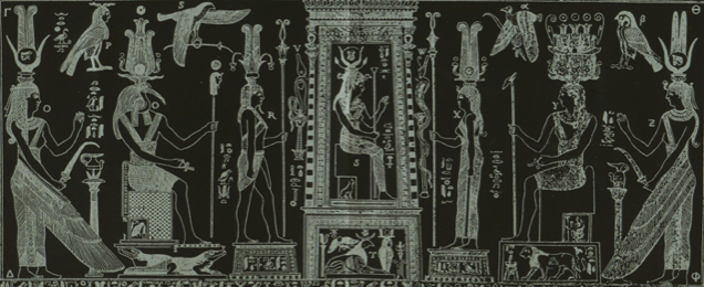 Isis (in center) of the Bembine Tablet; Thoth, (second from left) has Her back as always