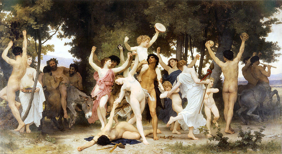 Just like every Pagan ritual you've ever been to…right? (Bouguereau, The Youth of Bacchus, 1884)