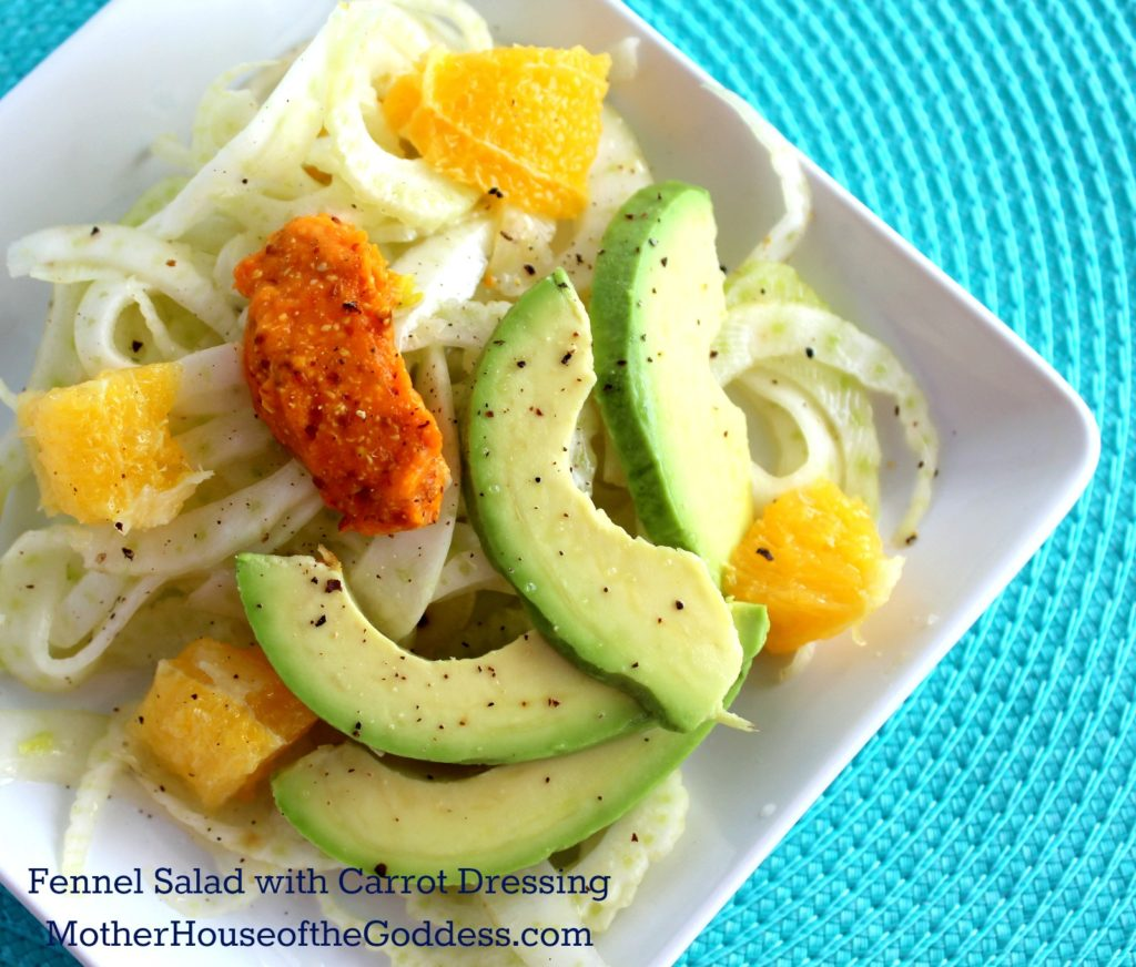 Fennel Salad with Oranges Avocado and Carrot Dressing Kimberly Moore for MotherHouse of the Goddess