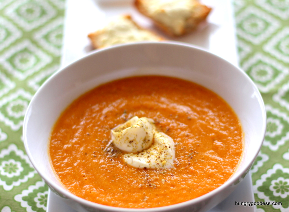 Carrot-and-Leek-Soup-with-Creme-Fraiche-Recipe-and-Lemon-Goat-Cheese-Crostini-from-the-Hungry-Goddess