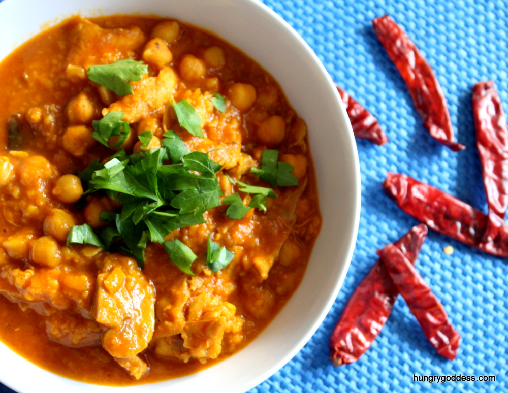 Spicy Chicken, Mung Bean and Chickpea Stew Recipe from The Hungry Goddess