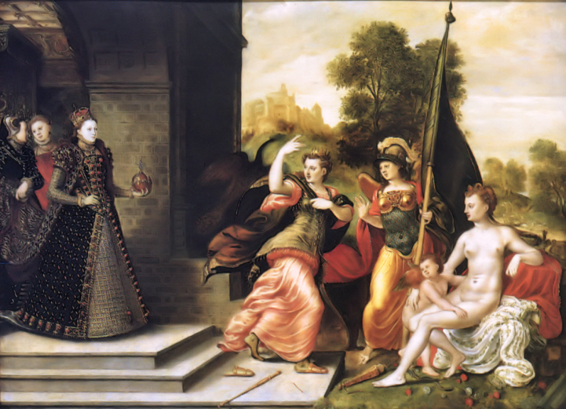 """Elizabeth I and the Three Goddesses,"" by Hans Eworth, 1569; Elizabeth actually owned this painting, which both associates her with the Goddesses and has her besting Them, for she kept the golden ""apple"" or royal orb for herself"