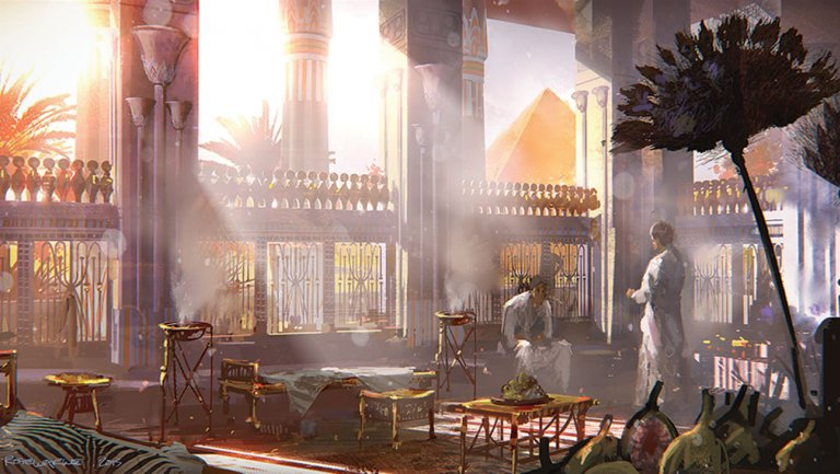 Concept art from Exodus; an imagined royal palace