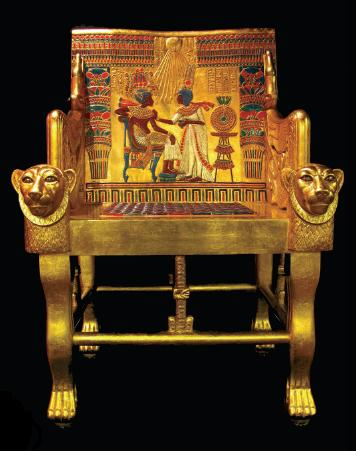 The golden throne found in Tutankhamun's tomb.