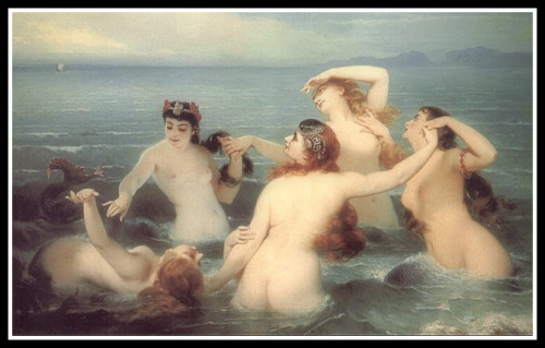 Nereids - Mermaids Frolicking in the Sea by Charles Edouard Boutibonne