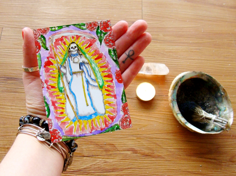 La Santa Muerte prayer card