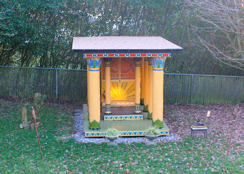 The Winter Solstice sun shining upon the symbol of the sun on the Isis Temple in my backyard…from a previous year.