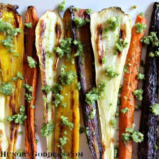 Roasted Carrots and Parsnips with Kale Walnut Pesto by The Hungry ...
