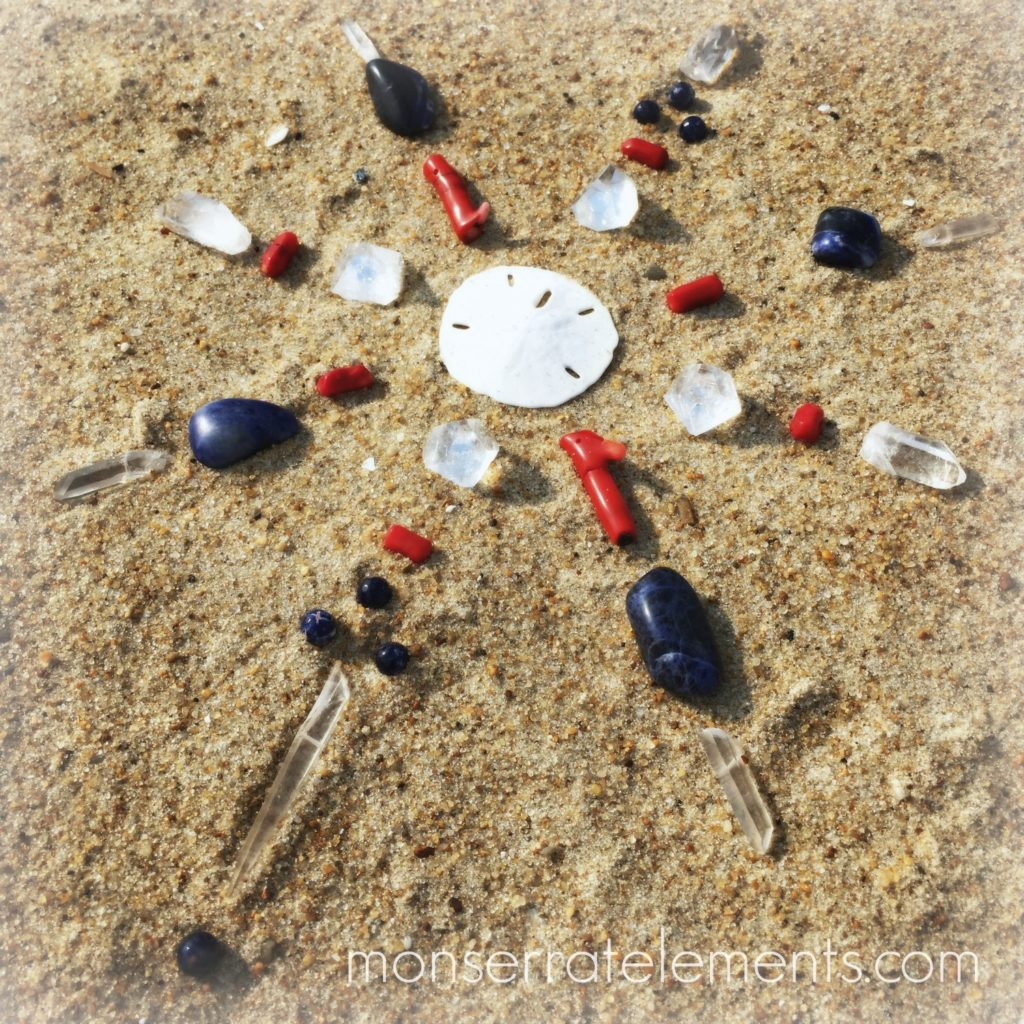 Yemaya Crystal Grid with Sand Dollar and Coral