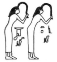 Isis and Nephthys pull a lock of hair toward the deceased